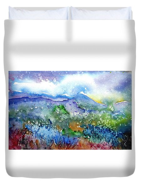 It Sometimes Rains In Tuscany Too  Duvet Cover by Trudi Doyle