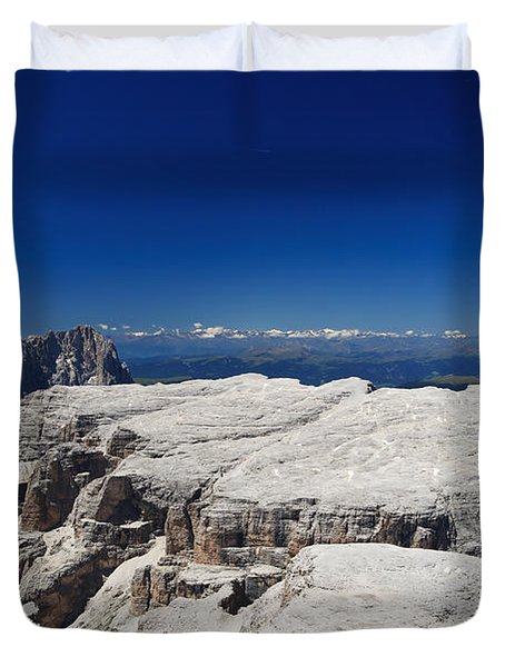 Italian Dolomites - Sella Group Duvet Cover by Antonio Scarpi