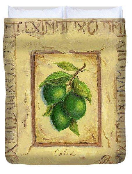 Italian Fruit Limes Duvet Cover by Marilyn Dunlap