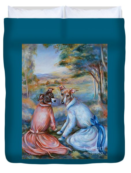 Italian Greyhounds Renoir Style Duvet Cover
