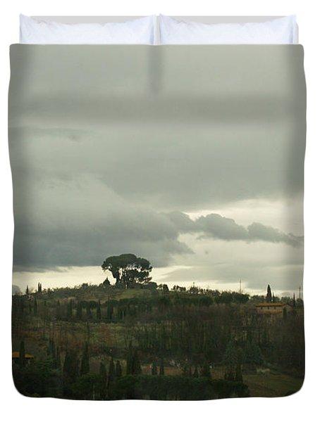 Duvet Cover featuring the photograph Italian Hillside by Robin Maria Pedrero