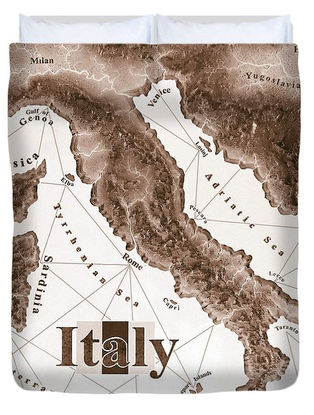 Italian Map Duvet Cover