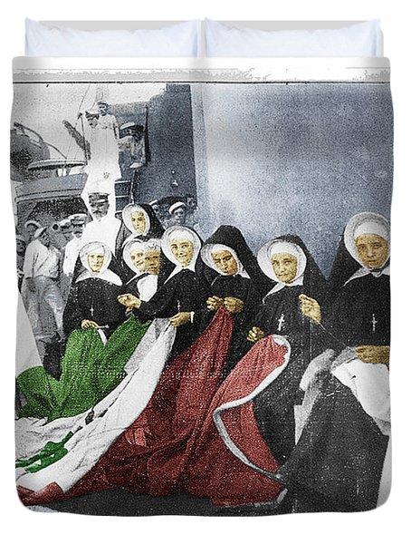 Italian Nuns Duvet Cover by Tony Rubino