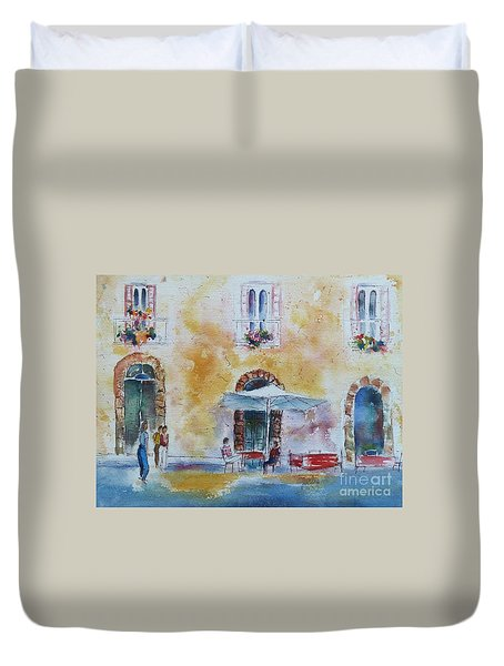 Italian Piazza Duvet Cover by Carolyn Jarvis
