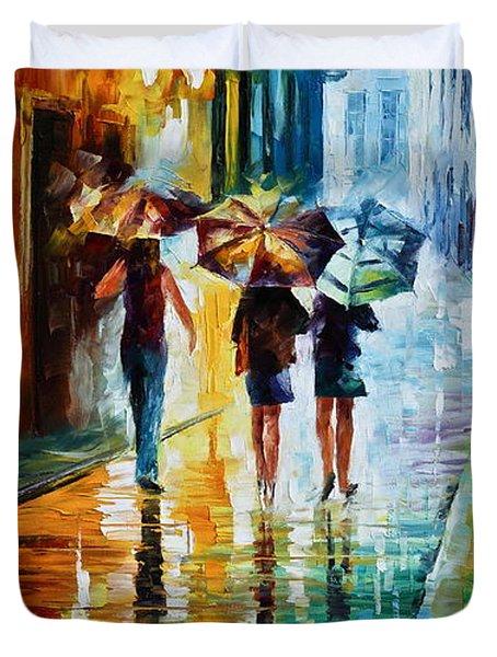 Italian Rain Duvet Cover by Leonid Afremov