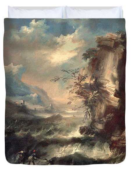 Italian Seascape With Rocks And Figures Duvet Cover by Marco Ricci