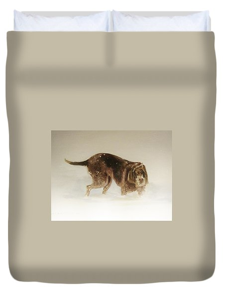 Italian Spinone In The Snow Duvet Cover