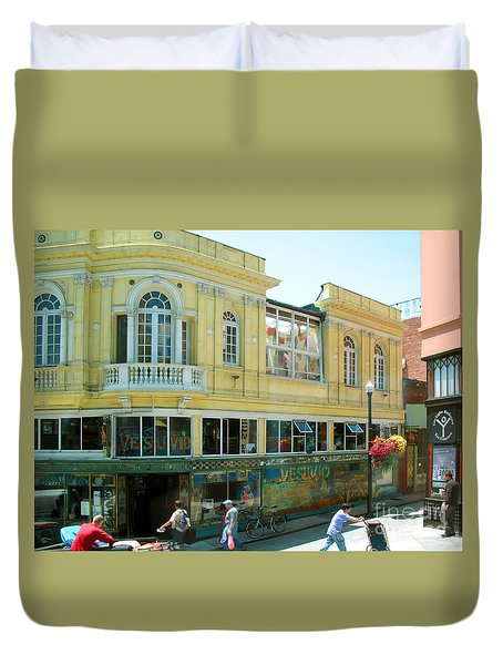 Italian Town In San Francisco Duvet Cover by Connie Fox