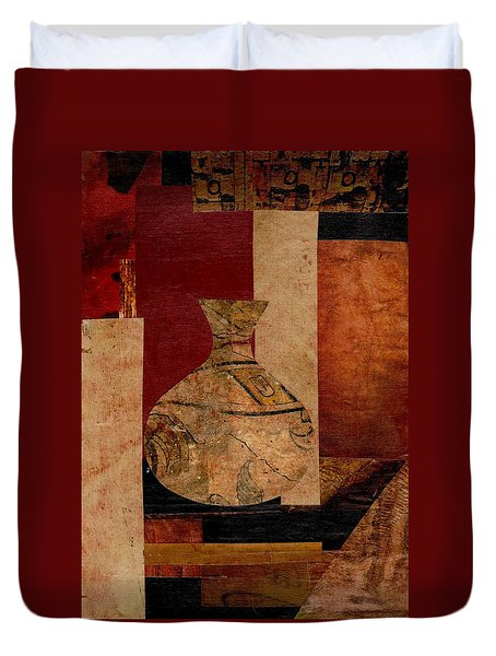 Duvet Cover featuring the mixed media Italian Urn Collage by Patricia Cleasby
