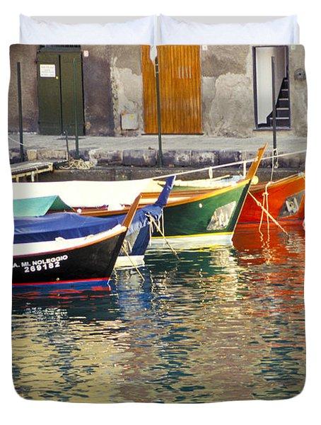 Italy Portofino Colorful Boats Of Portofino Duvet Cover by Anonymous