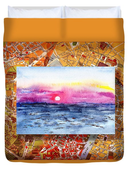 Italy Sketches Sorrento Sunset Duvet Cover by Irina Sztukowski