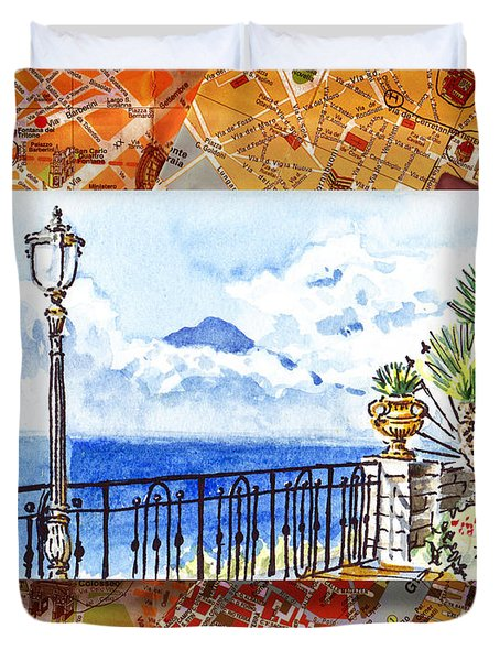 Italy Sketches Sorrento View On Volcano Vesuvius  Duvet Cover