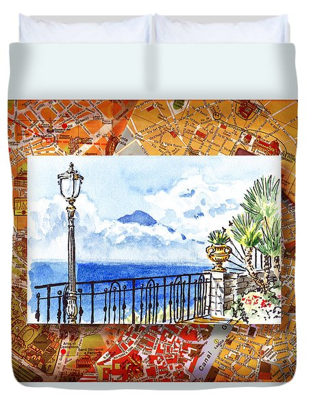 Italy Sketches Sorrento View On Volcano Vesuvius  Duvet Cover by Irina Sztukowski