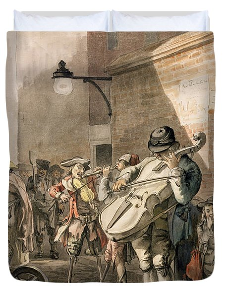 Itinerant Musicians Playing In A Poor Duvet Cover by Paul Sandby
