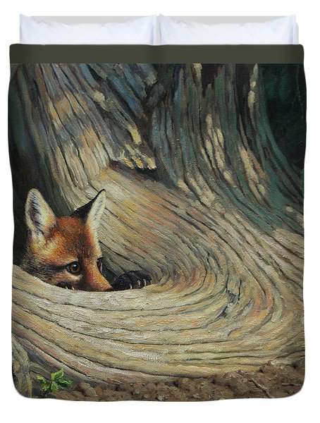 Fox - It's A Big World Out There Duvet Cover by Crista Forest