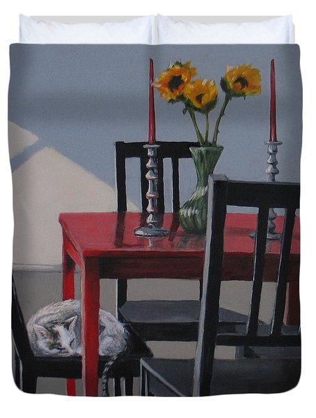 Duvet Cover featuring the painting Its A New Day by Karen Ilari