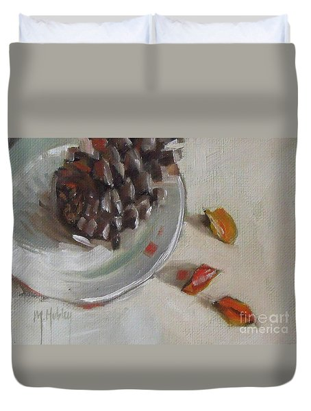 Pine Cone Still Life On A Plate Duvet Cover by Mary Hubley