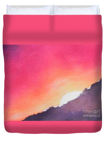 Duvet Cover featuring the painting It's Not About The Climb  Rather What Awaits You On The Other Side by Chrisann Ellis