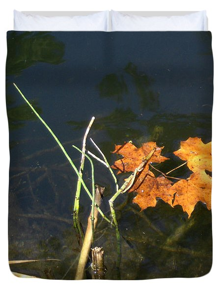 It's Over - Leafs On Pond Duvet Cover by Brenda Brown