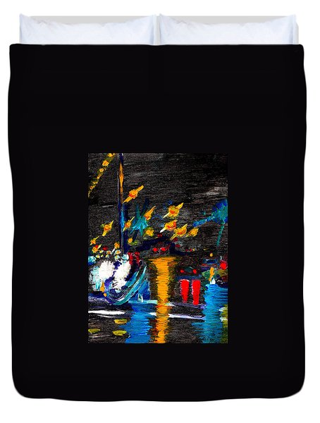 Duvet Cover featuring the painting Rain Night  By Janelle Dey by Janelle Dey