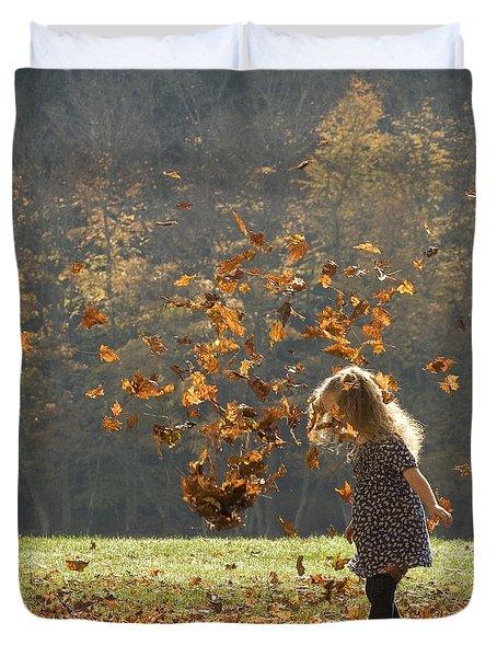 It's Raining Leaves Duvet Cover by Carol Lynn Coronios
