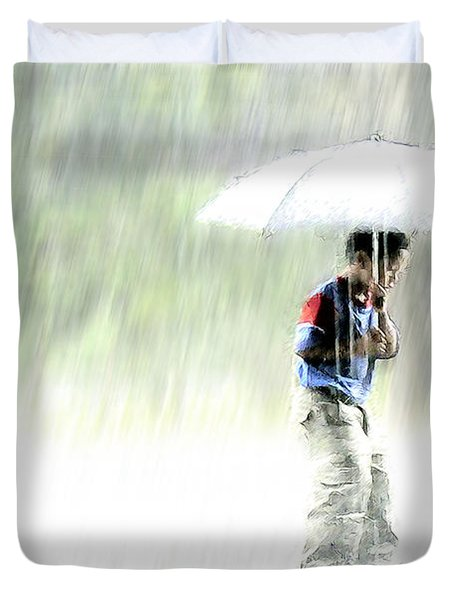 Duvet Cover featuring the photograph It's Raining Outside by Heiko Koehrer-Wagner