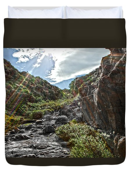 Duvet Cover featuring the photograph Its Raining Rainbows by Miroslava Jurcik