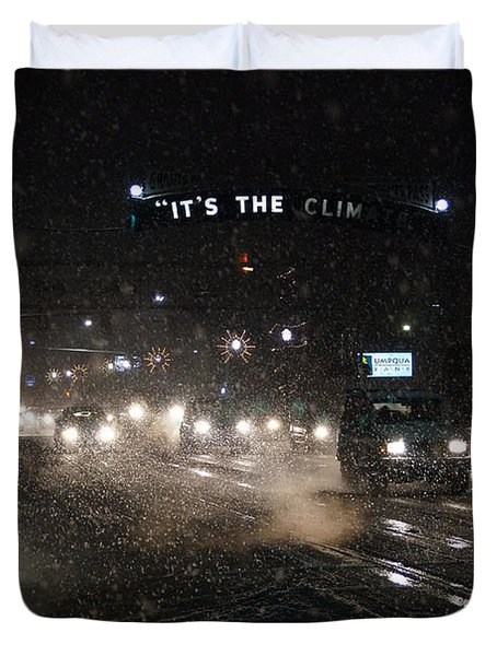Its The Climate - Christmas Snow Duvet Cover by Mick Anderson