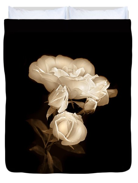 Duvet Cover featuring the photograph Ivory Roses In The Moonlight Sepia by Jennie Marie Schell