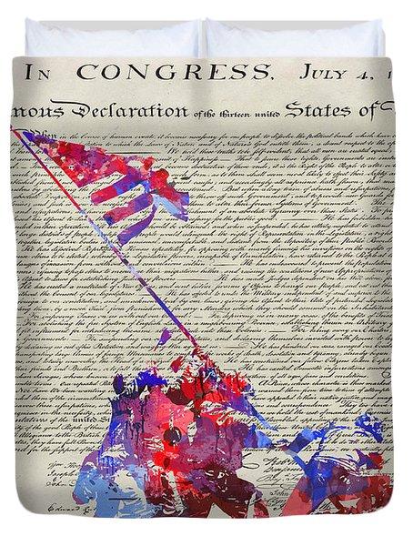 Iwo Jima Declaration Of Freedom Duvet Cover