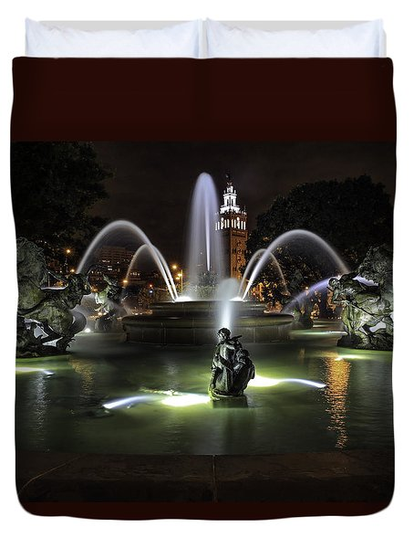J C Nichols Fountain Duvet Cover
