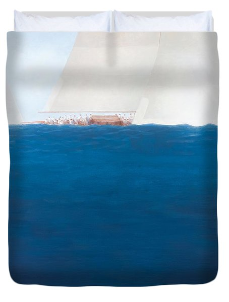 J Class Racing The Solent 2012  Duvet Cover by Lincoln Seligman