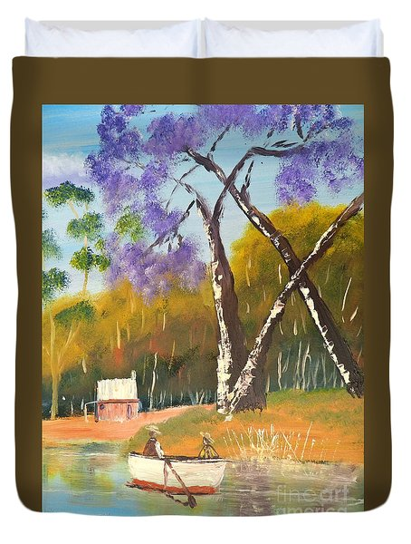 Duvet Cover featuring the painting Jacaranda Tree by Pamela  Meredith