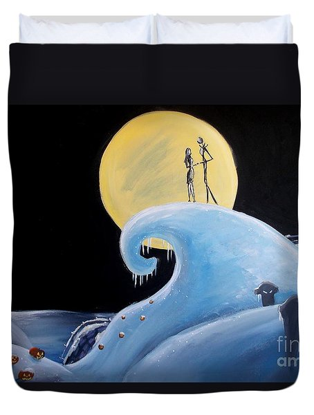 Jack And Sally Snowy Hill Duvet Cover