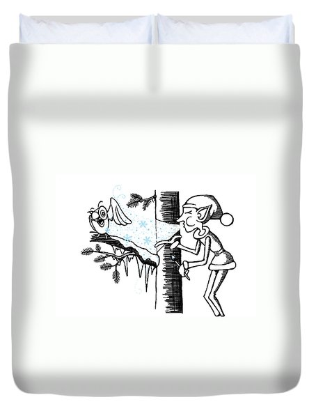 Jack Frost Holiday Card Duvet Cover
