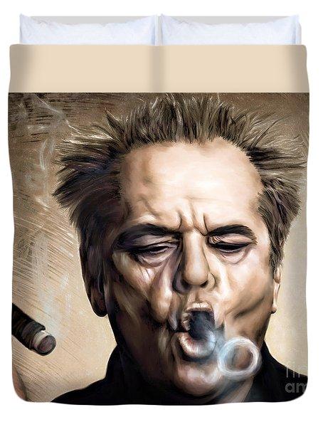 Jack Nicholson Duvet Cover by Andrzej Szczerski