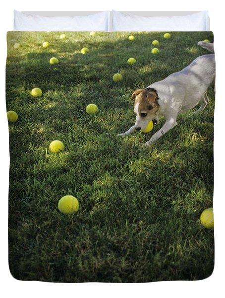 Jack Russell Terrier Tennis Balls Duvet Cover