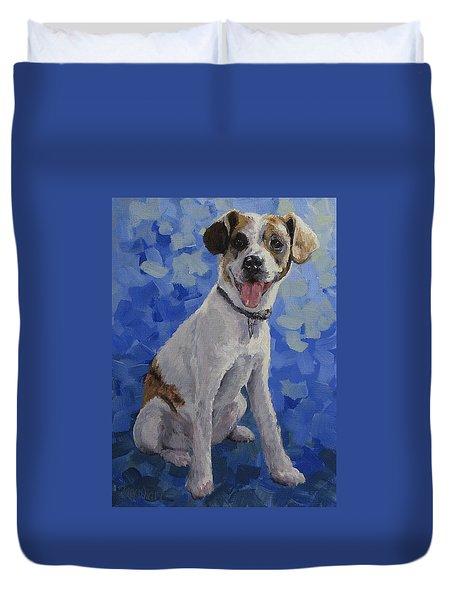 Jackaroo - A Pet Portrait Duvet Cover by Karen Ilari