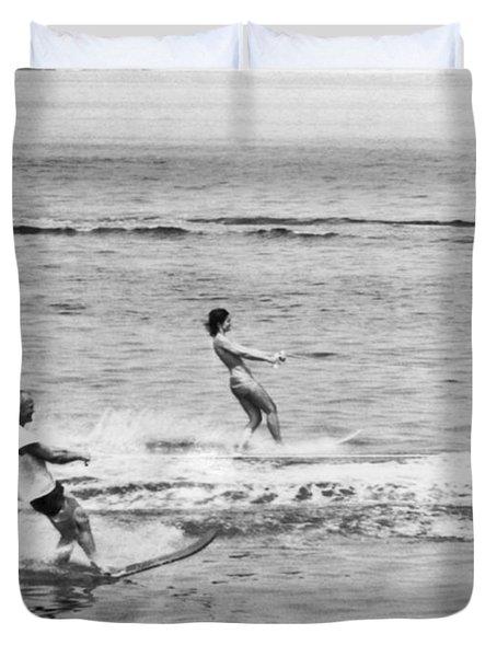Jackie & John Glenn Water Ski Duvet Cover by Underwood Archives