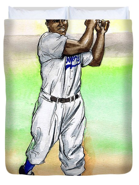 Jackie Robinson Duvet Cover by Mel Thompson