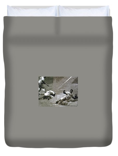 Jackie Robinson Sliding Home Duvet Cover by R Muirhead Art
