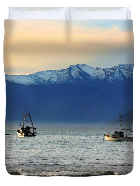 Duvet Cover featuring the photograph Jackson Bay South Westland New Zealand by Amanda Stadther