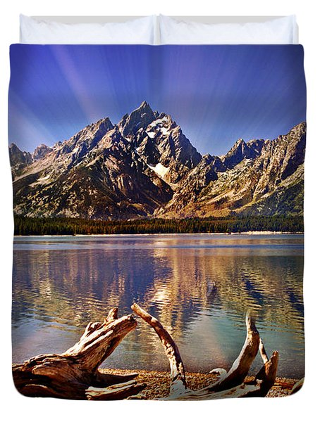 Jackson Lake Mt. Moran Duvet Cover by Marty Koch