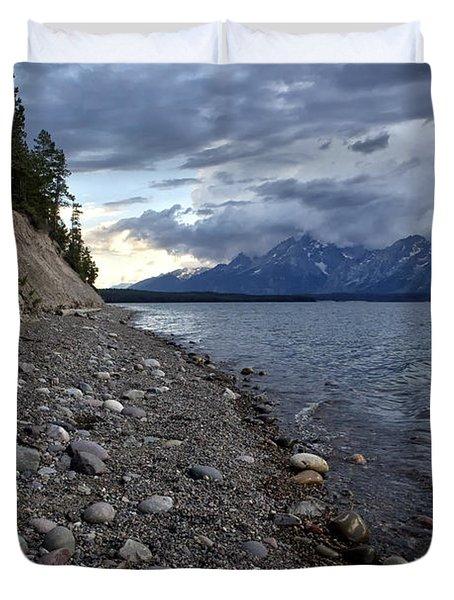 Jackson Lake Shore With Grand Tetons Duvet Cover by Belinda Greb