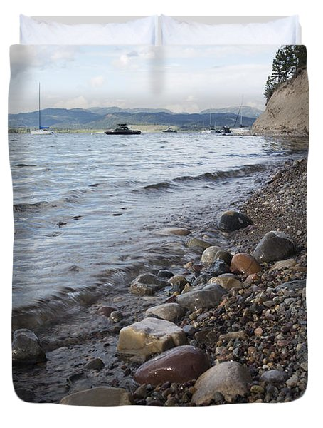 Jackson Lake With Boats Duvet Cover by Belinda Greb