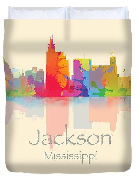 Jackson Mississippi Skyline Duvet Cover
