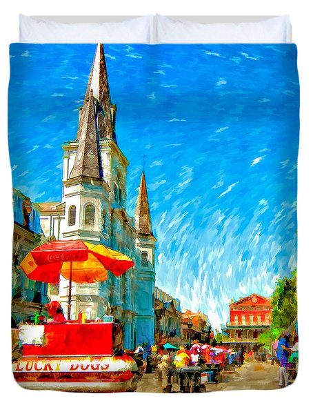 Jackson Square Painted Version Duvet Cover by Steve Harrington