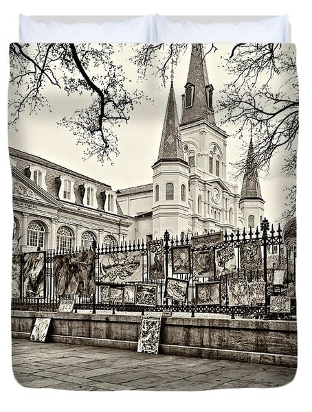 Jackson Square Winter Sepia Duvet Cover by Steve Harrington