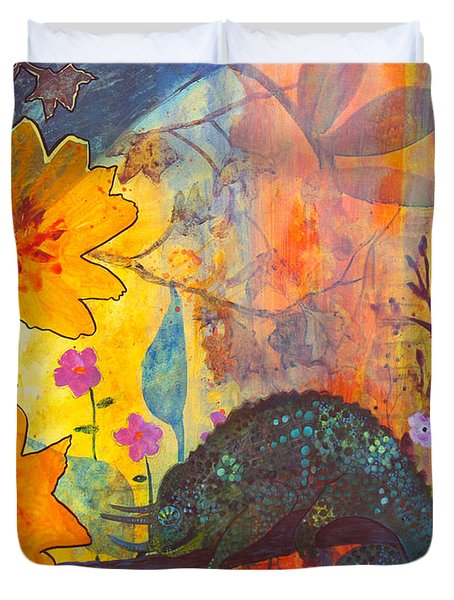 Duvet Cover featuring the painting Jackson's Chameleon by Robin Maria Pedrero