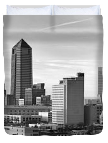 Duvet Cover featuring the photograph Jacksonville Skyline Morning Day Black And White Bw Panorama Florida by Jon Holiday